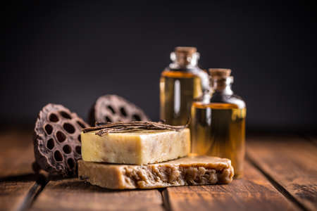 beauty product: Cold processed handcrafted soap with vanilla and essential oil Stock Photo