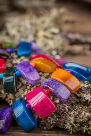gemstones: Necklace from colorful natural gemstones