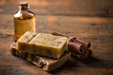 handcrafted: Cold processed handcrafted soap with cinnamon and essential oil Stock Photo