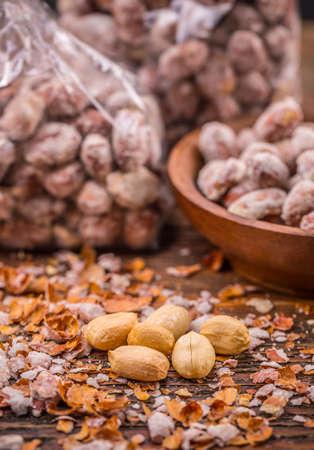 shelled: Shelled peanuts heap, close up