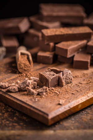 fudge: Cubes of homemade chocolate fudge