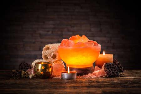 Turned on himalayan crystal natural salt bowl lamp