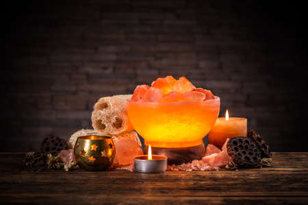 salt lamp: Turned on himalayan crystal natural salt bowl lamp