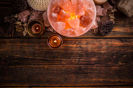salt lamp: Top view of turned on himalayan crystal natural salt bowl lamp Stock Photo