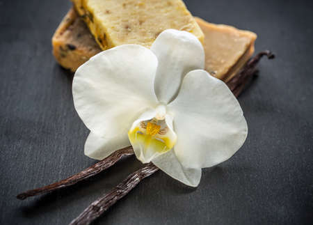 cosmetics products: Natural handmade soap with orchid