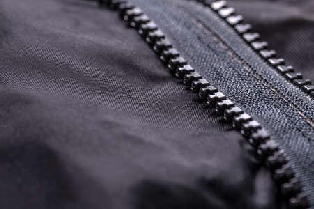 locking up: Garment coat with zipper, close up shot