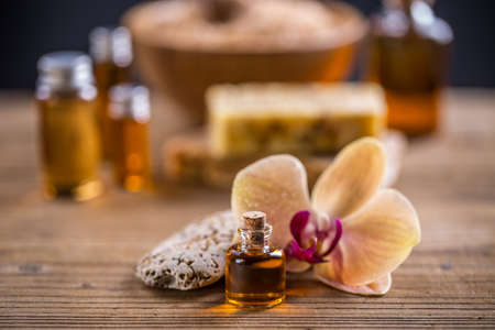 Health spa with massage oil Stock Photo