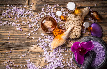 Composition of spa treatment on vintage wooden background