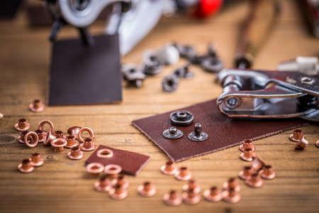 eyelet: Eyelet fabric plier punch tool, leather hole maker Stock Photo