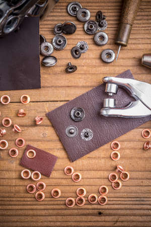 hole punch: Leather hole punch with brass rings