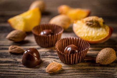 sweetstuff: Chocolate sweets on vintage wooden background