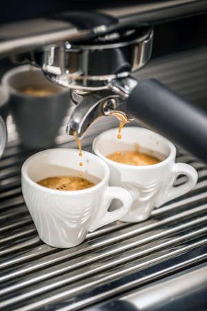 coffee maker machine: Automatic coffee maker machine preparing coffee