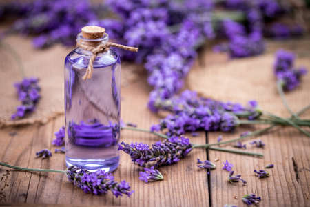 Fresh lavender flowers with massage oil Stock Photo