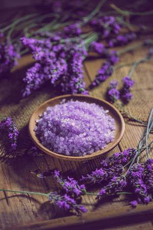 Bowl of lavender bath salt for beauty treatment