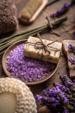 natural soap: Natural soap, bath salt and fresh lavender flowers