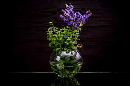 Fresh herbs from garden in glass bottle on black Stock Photo