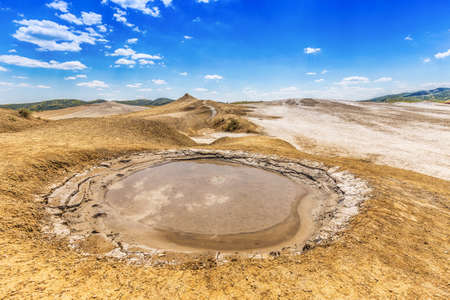 refers: Mud volcano refers to formations created by geo-exuded mud or slurries, water and gases