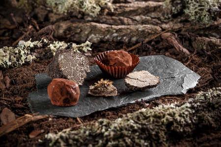 chocolate balls: Chocolate balls with truffle on black slate
