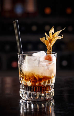 white russian: White russian cocktail on the dark background