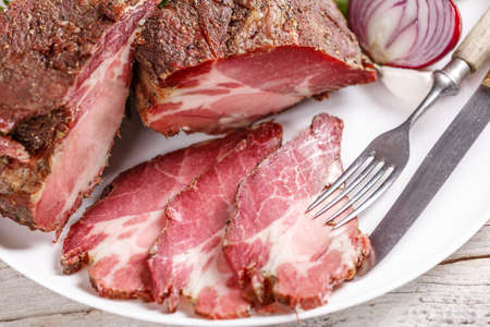 air dried: Slices of dried pork meat Stock Photo