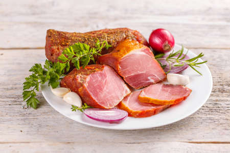 air dried: Smoked and spicy pork tenderloin, air dried Stock Photo
