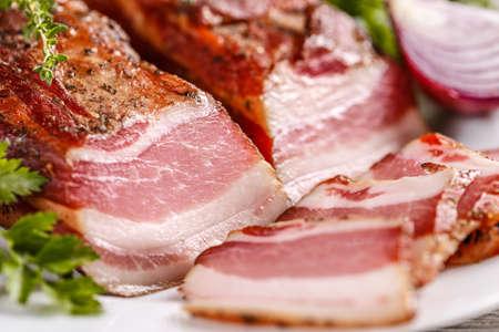 Close up of smoked bacon Stock Photo
