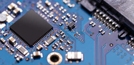 Integrated semiconductor microchip microprocessor on blue circuit board