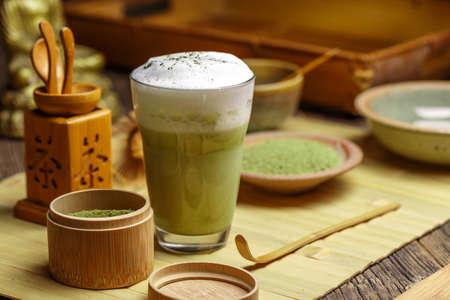 Tasse grüner Tee Matcha Latte