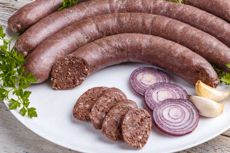 kulinarne: Blood pudding sausage, culinary traditional european eating