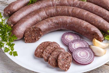 Blutwurst Wurst, kulinarische traditionelle europäische Essen Standard-Bild