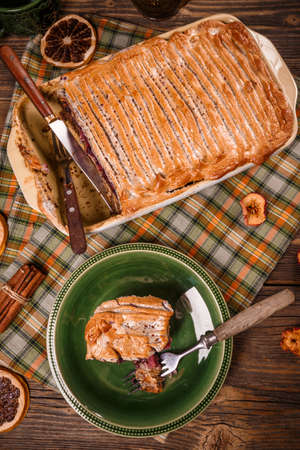 serving dish: Serving dish of delicious bread pudding Stock Photo