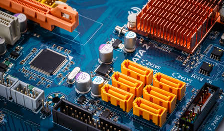 Electronic circuit board with sata connector, close up