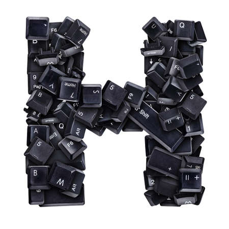 typewrite: Letter H made of keyboard buttons isolated on white Stock Photo