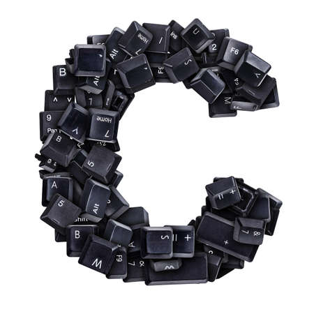 typewrite: Letter C made of keyboard buttons isolated on white