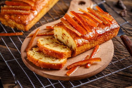 Sweet fruit bread with caramelized orange zest Stock Photo