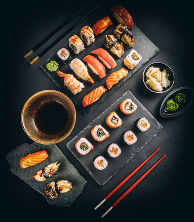 Top view of fresh and delicious sushi set Фото со стока