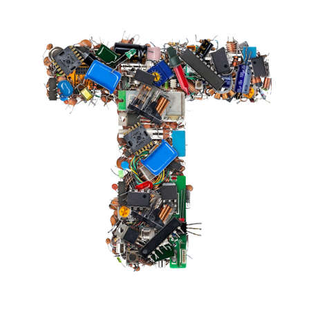 Letter T made of electronic components isolated on white background Stock Photo