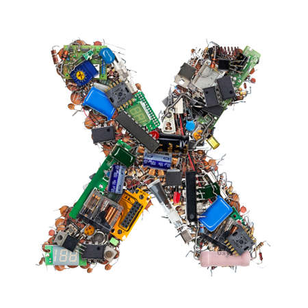 Letter X made of electronic components isolated on white background