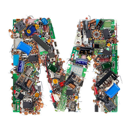 Letter M made of electronic components isolated on white background