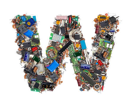 Letter W made of electronic components isolated on white background