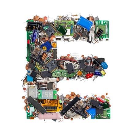 Letter E made of electronic components isolated on white background