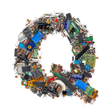 Letter Q made of electronic components isolated on white background