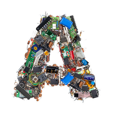 Letter A made of electronic components isolated on white background