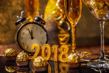2018 New Year's Eve celebration background 写真素材