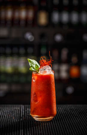 Classic Bloody Mary at the bar counter Archivio Fotografico