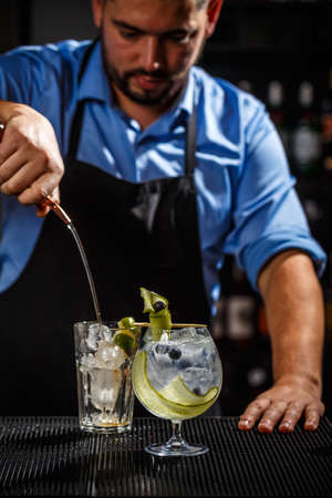 Bartender preparing a gin tonic cocktail Stock Photo