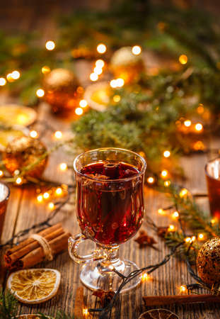 Christmas hot wine with cinnamon and star anise