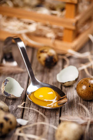 Close up of raw quail eggs in spoon on wooden background