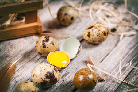 Fresh quail egg on rustic wooden background