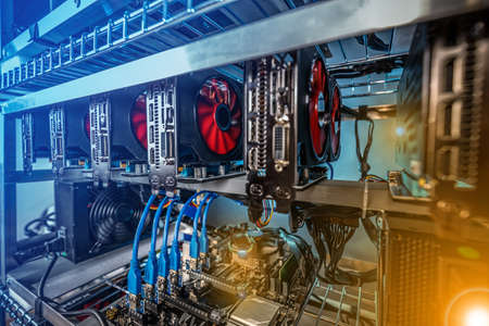Farm for mining crypto currency on video cards close-up